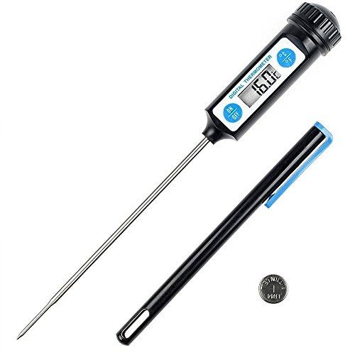 Anpro Thermomètre de Cuisson,Thermomètres de Cuisine Thermomètre Numérique Digital avec Sonde Longue et LCD Ecran pour Nouriture, Viande, Huile, Lait, Vin, BBQ et Eau Chaude - Noir