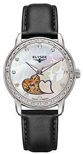 Elysee 11000 Monrose, Edelstahl Automatik, Lederband schwarz Damenuhr