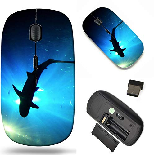 Wireless Mouse 2.4G Black Base Travel Wireless Mice with USB Receiver, Noiseless and Silent Click with 1000 DPI for Notebook pc Laptop Computer MacBook Image of Marine Ocean Shark sea Underwater Blue
