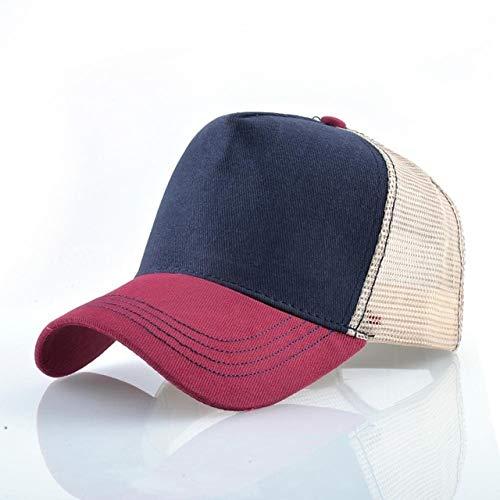 Gorras de béisbol de Moda Hombres Mujeres Snapback Hip Hop Sombrero Verano Malla Transpirable Sun Gorras Unisex Streetwear-Red1