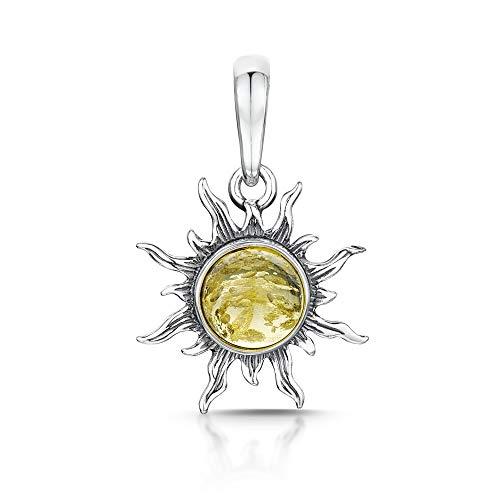 Amberta, ciondolo a forma di sole, in argento Sterling 925con ambra baltica, Argento, colore: Yellow, cod. S925-BC-1764-PEN-2Y