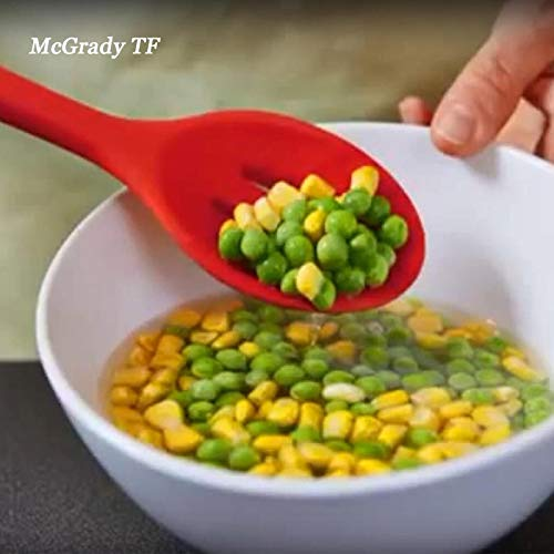 BIRD WORKS 2018 New Silicone Slotted Spoons Scoop Non-Scratch Food Grade Cooking Kitchen Utensil Accessory