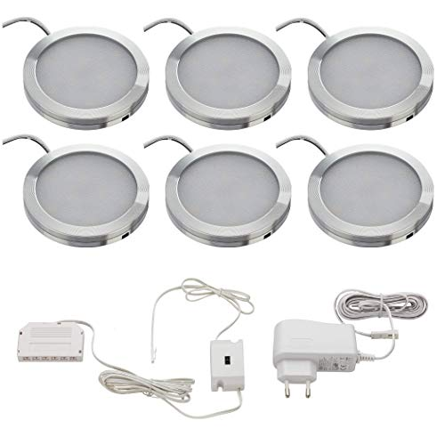 SEBSON LED Schrankleuchte 6er Set, berührungslos dimmbar, IR Sensor, warmweiß 3000K, 6x 2W, 130lm, Unterbauleuchten rund, ultra flach 8mm, Alu