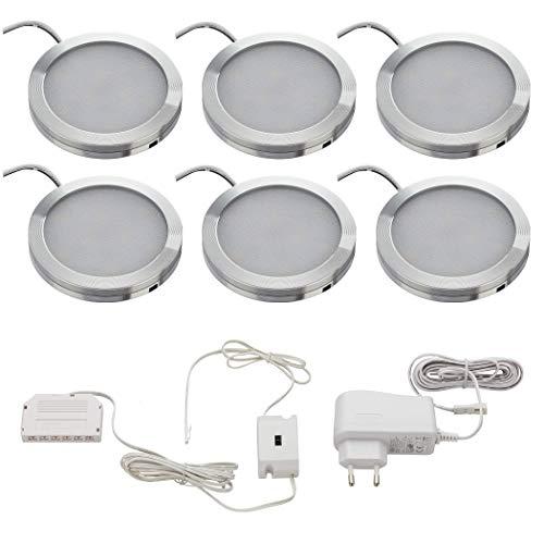 SEBSON LED Schrankleuchte 6er Set, berührungslos dimmbar, IR Sensor, warmweiß 3000K, 6x 1,8W, 150lm, Unterbauleuchten rund, ultra flach 8mm, Alu