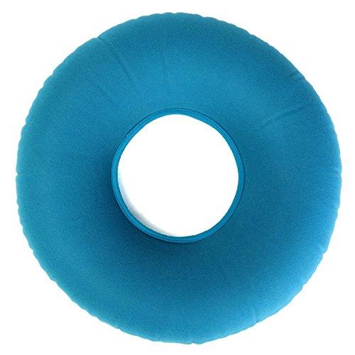 Medisch aambeienkussen, opblaasbaar rond ringkussen van vinyl, met gratis pomp. Comfortabel medisch kussen voorkomt het risico op decubitus, ideaal voor rolstoelen, kleur: blauw, 34 x 12 x 9 cm
