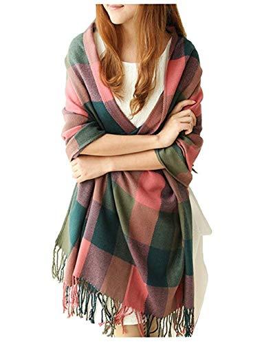 heekpek Mujeres caliente Mantas Cozy Pashmina bufanda larga tartán enrejado mantón (Rojo+Verde)
