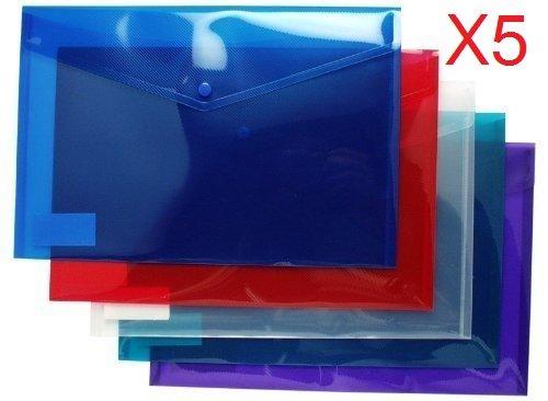5x Bereik Groothandel A4+/foolscap grootte gekleurde stud, portemonnee popper bestanden mappen Ideaal voor thuis, Office/School ect.