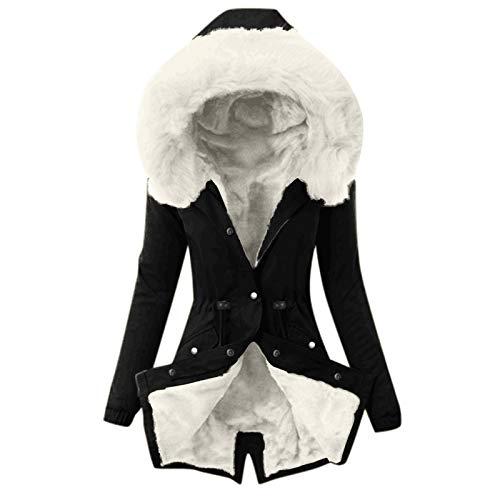 Mujeres de Invierno con Capucha de imitación de Invierno Abrigo de Abrigo de Abrigo con cordón y Collar de Pelusa Damas Delgadas,Black White,3XL