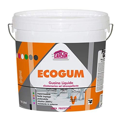 Colorificio Carson Ecogum Guaina Liquida Impermeabilizzante Pedonabile Calpestabile Protettiva Idrorepellente Resistente Ai Raggi UV Per Manti Bituminosi Tetti Terrazze (14 LT, Rosso)