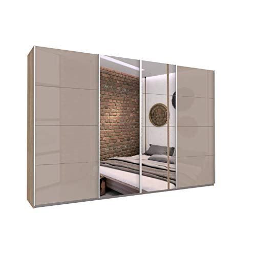 Bloomwood KUMOX Kleiderschrank, moderner Schwebetürenschrank 315 cm breit, 210 cm hoch 4-türig mit Einlegeböden und Kleiderstangen, Made in Germany, Fango mit Spiegel