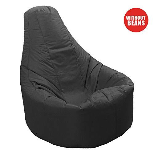 Aikeec Sitzsack mit hoher Rückenlehne, für drinnen und draußen, für Erwachsene, entspannend, wasserfest und witterungsbeständig (Füllung Nicht im Lieferumfang enthalten) - Schwarz