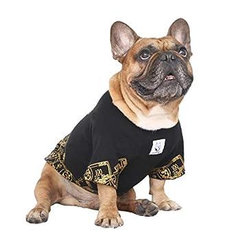 iChoue Rich Dog Series Pet Clothes Shirt T-Shirt Pullover Tank Top French Bulldog Pug Boston Terrier T-Shirt - Black Money M