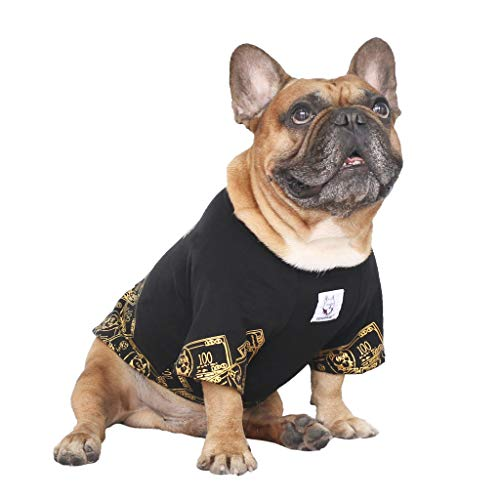 iChoue Rich Dog Series Pet Clothes Shirt T-Shirt Pullover Tank Top Puppy French Bulldog Pug Boston Terrier T-Shirt - Black Money S