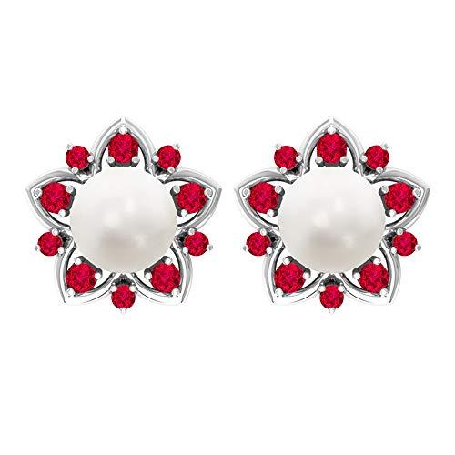 Pendientes de perlas de oro de 14 quilates para mujeres, 7 mm de perla de agua dulce, pendientes de rubí, pendientes solitarios de perla de 6,6 quilates para niñas 14K Oro blanco, Par