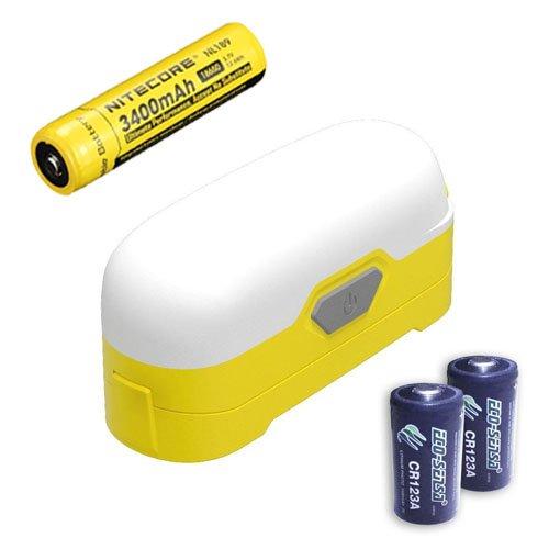 Nitecore LR30 Camping Lantern (Yellow) -205 Lumens -White/red dual light sources w/ NL189 & 2x FREE Eco Sensa Premium CR123A Batteries