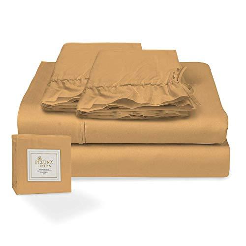 Pizuna Juego de sábanas algodón de 400 Hilos Mostaza Cama 105cm, 100% algodón Tejido de satén Suave y Transpirable con 1...