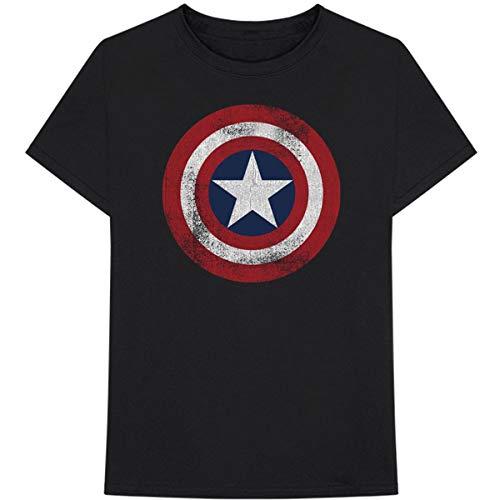 Marvel Comics T Shirt Captain America Distressed Shield Nuovo Ufficiale Uomo Size M