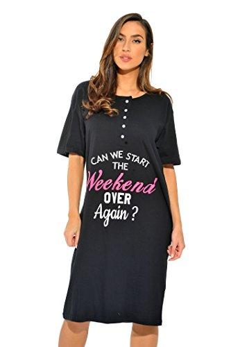 4361-K-50-M Just Love Short Sleeve Nightgown / Sleep Dress for Women / Sleepwea,Black - Can We Start Over,Medium