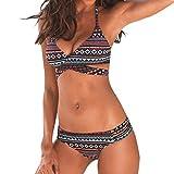 Bikini Mujer Push Up Lanskirt Mujeres Conjunto de Traje de BañO Estampado Bohemio BañAdores Con Relleno Trajes de BañO Mujer 2019 Baratos Bikini Estampado Dividido BañAdores (Multicolor 1, M)