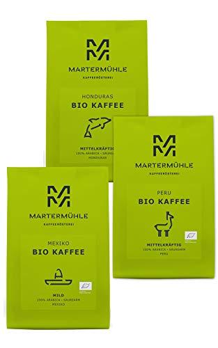Martermühle | Bio Kaffee Probierset | (3 x 250g) | Ganze Bohnen | Premium Kaffeebohnen aus aller Welt | Schonend geröstet | Kaffee säurearm | 100% Arabica