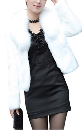 Women's White Fashion Faux Fox Fur Long Sleeve Thick Overcoat Slim Short Coat M