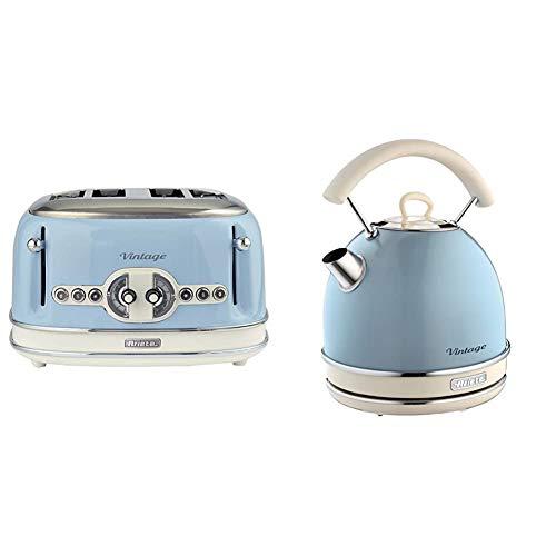 Ariete 156/05-blue Vintage 4-Schlitz-Toaster, lackierter Edelstahl, Blau & 2877 Kabelloser Wasserkocher Vintage, 1,7 L, 2200 W, blau, Rostfreier Stahl