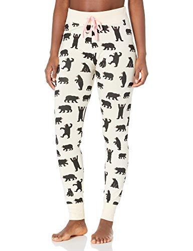 Hatley Pyjama Leggings Pantalones de Pijama, Blanco (Osos Negros sobre Natural), M para Mujer