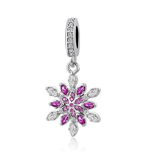 MZC Jewelry Christmas Snowflake Dangle Charm Beads for Charms Bracelets Necklace