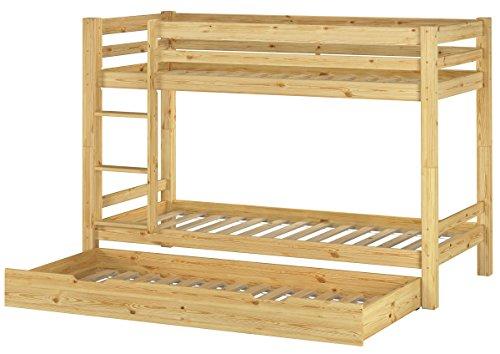 Erst-Holz® Kinderetagenbett Kinderzimmer Stockbett massiv Kiefer + Rollrost + Gästebettkasten 90x200 Bett 60.09-09S7