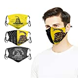 3PCS Us American Flag Don't Tread On Me Face Cover Mask with 6 F-ilter Dust-Proof Print Reusable Adjustable Elastic Strap for Adult Men Woman