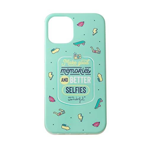 Mr. Wonderful Carcasa iPhone 12 Compatible con iPhone 12 Pro Selfies, Verde Agua