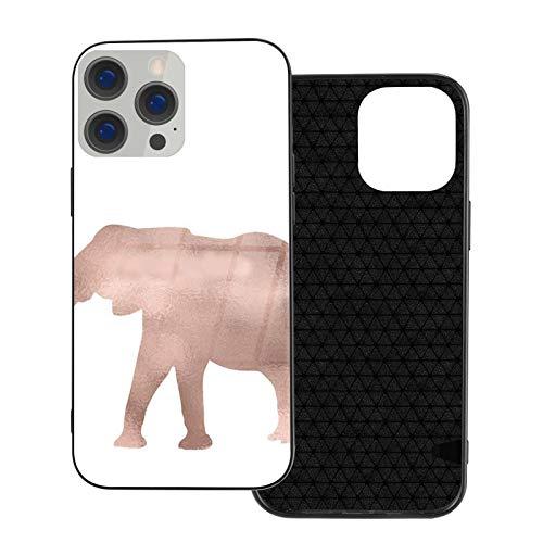 Funda de teléfono compatible con iPhone 12Pro Max-6.7 pulgadas, suave TPU cubierta de protección completa, parte trasera de vidrio templado, elefante amor oro rosa lámina