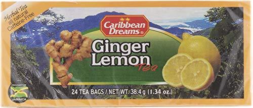 Caribbean Dreams Ginger Lemon Tea, 24 Tea Bags, Herbal Natural Tea, Caffeine Free, Tea Bags with Lemon & Ginger