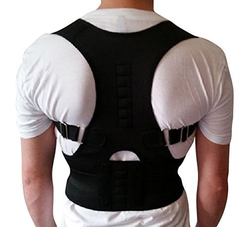 AGIA TEX Geradehalter für Rücken Schulter Haltungskorrektur Rückenstabilisator Wirbelsäule für Damen und Herren Neopren Schulterträger verstellbar atmungsaktiv M Schwarz
