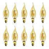 Mdrcg Filamento LED Vintage Bombillas Verticales, Ámbar 110V ~ 220V 4W E14, Bombilla Luz Vela, para Iluminación Pasillos 10...