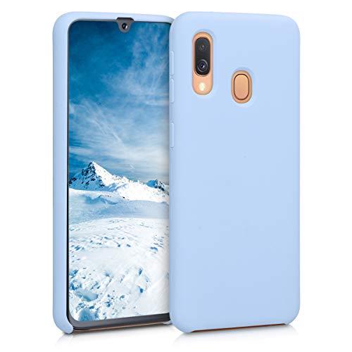 kwmobile Hülle kompatibel mit Samsung Galaxy A40 - Hülle Silikon gummiert - Handyhülle - Handy Case in Hellblau matt