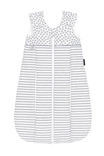 Set Odenwälder Prima Klima Thinsulate Schlafsack mit Stoffwindel von Kinderhaus Blaubär | Winter Baby-Schlafsack atmungsaktiv, Größe:110, Design:stripes silber