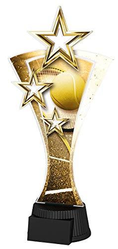 Trophy Monster - Placa grabada con triple estrella de tenis