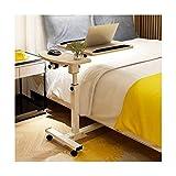 ABD Mesa sobrecama con ruedas sobre la cama, altura ajustable, soporte para ordenador portátil, mesa con ruedas, altura ajustable (color: madera de arce cerezo)