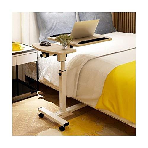 Qgg Verstellbarer Tisch über dem Bett, höhenverstellbar, mobiler Laptop-Ständer, Schreibtisch, Rollwagen, höhenverstellbar (Farbe: Ahorn-Kirschholz)