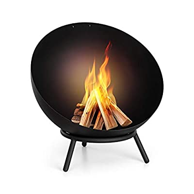 blumfeldt Fireball - Fire Bowl, Diameter: 60 cm, Tilting Fireplace, Solid and Sturdy 3 mm Steel Fire Bowl, Usable Horizontally and Diagonally, Designed in Berlin, Includes Rain Cover - Black by Blumfeldt