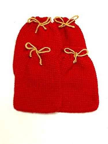 Handmade 4. Stk. Gehäkelte Beutel in verschiedenen Farben für DIY Adventskalender oder als liebevolle Geschenkverpackung