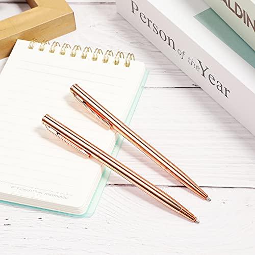 12 Pieces Slim Metallic Retractable Ballpoint Pens Lightweight Black Ink Metal Pens Rose Gold Ballpoint Slim Pens Medium Point 1.0 mm Pens for Business Office School Supplies Photo #4