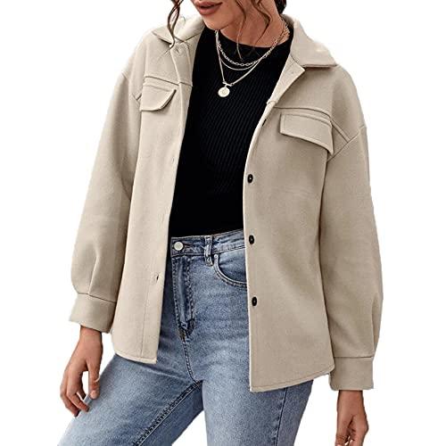 BDCUYAHSKL Herbst Und Winter Damenmode Casual Revers Einfarbig Taschenhemd Woll Langarmhemd Einreihig Mantel Jacke Damen