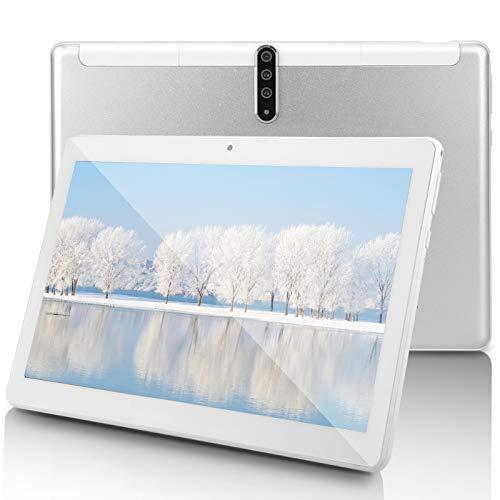 Android Tablet PC 10 inch,3G-Unlocked, Octa-Core Processor, 4GB RAM, 64GB ROM, 5G-WiFi,GPS,Bluetooth, IPS HD Display, G6 (Silver)