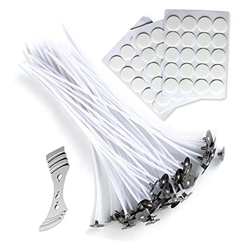 Kit para hacer velas caseras: 50 Mechas de algodón enceradas sin humo (15cm), 60 Pegatinas de doble cara y 1 Centrador de aluminio.