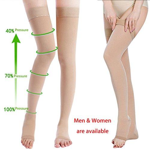 Bluelover Skin Color Anti Skip Compression Overkneekousen Prevent spataderen sokken pijn reliëf openen tenen