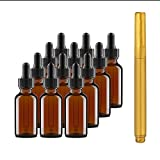 Culinaire 12 Pack Of 1 oz Amber Glass Bottles with Dropper Tops and Gold Glass Pen