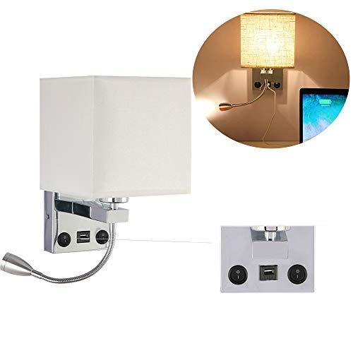 Sunjuly wandlamp voor nachtkastje, LED, verchroomd, wandlamp voor woonkamer, wandlamp, hal, 2 schakelaars, 3 W en E27 (met USB-aansluiting)