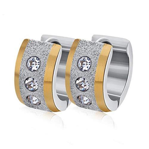 UBL PULABOScrub Cubic Zircon Ear Stud Hoop Earrings Stainless Steel Earrings Women Men Couple Jewelry Gift Comfortable and Environmentally